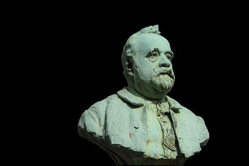 Sculpture, Bust, Bronze, Gray-green, Patina