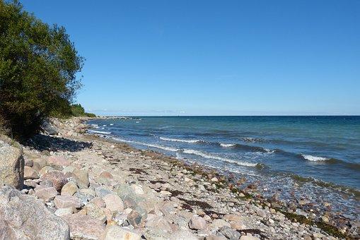 Baltic Sea, Stone Beach, Sea, Water, Coast, Landscape