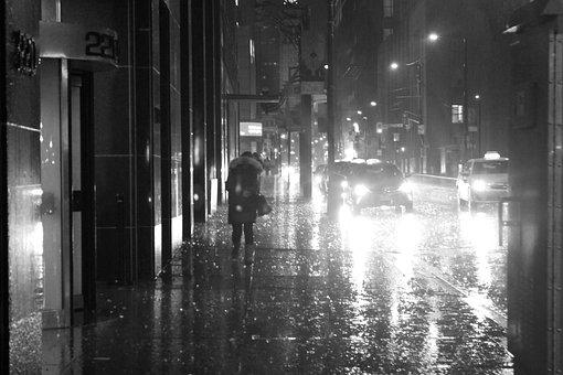 City, Rain, Urban, Wet, Street, Umbrella, Raining, Road
