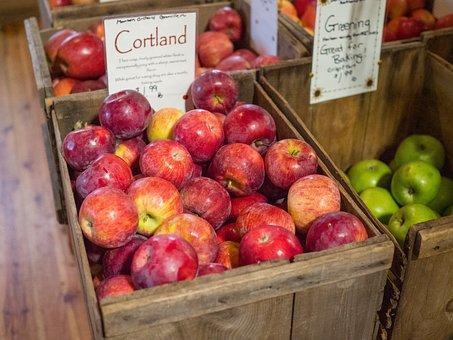 Apples, Cortland, Red, Ripe, Nutrition, Sweet, Healthy