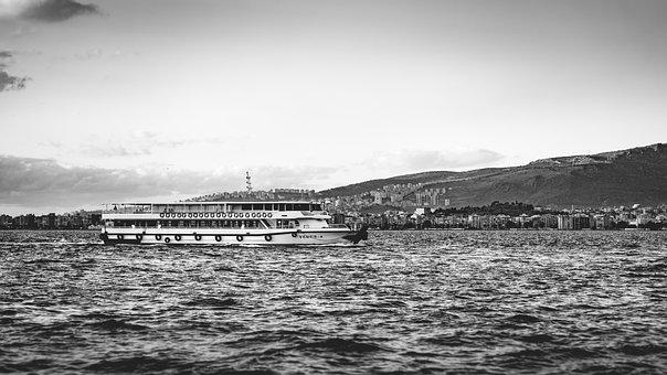 Ship, City, Transport, Bay, Mountains, Water, Tourism