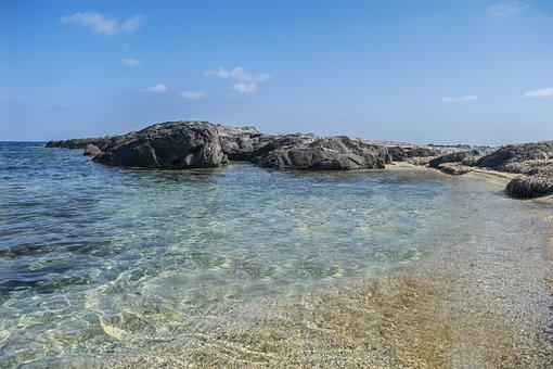 Beach, Water, Transparent, Rocks, Sand, Sky, Blue