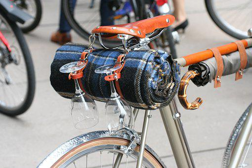 Velo, Bike, Pack, Picnic, Wine Glass, Blanket, Umbrella