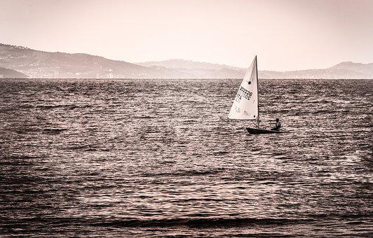 Boat, Vela, Sea, Water, Blue, Lake, Nature, Sunset