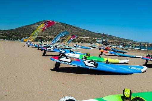 Beach, Coast, Wind, Surf, Windsurfing, Wave, Holidays