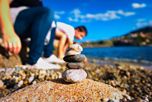 Stacking, Pierre, Zen, Pebble, Beach, Sea