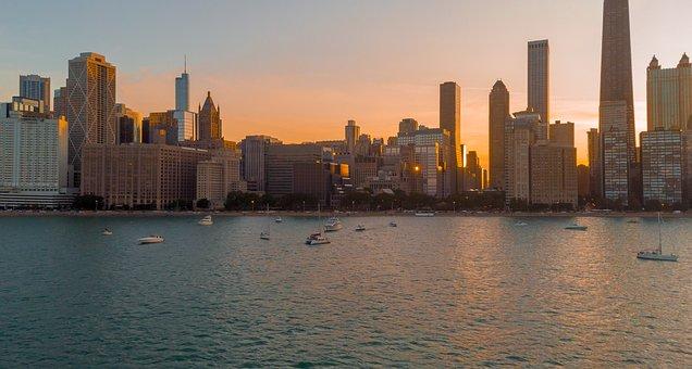 Drone, Skyline, Chicago, Architecture, Sky, City, Urban