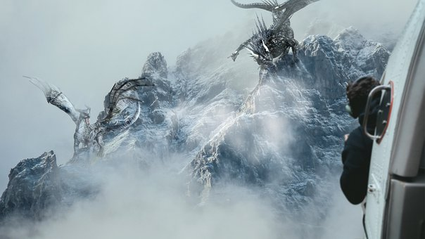 Dragons, Helicopter, Mountain, Snow, Clouds, Danger