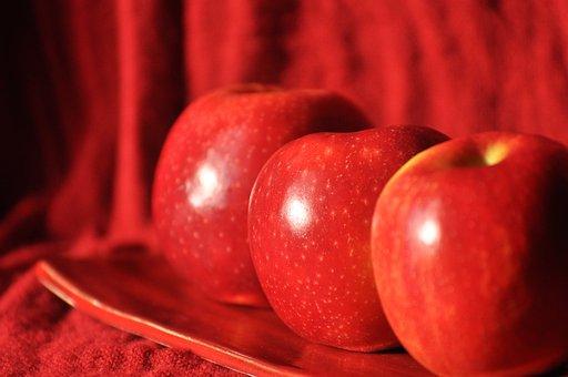 Apples, Red, Fruit, A Plate, Healthy, Fresh, Dessert