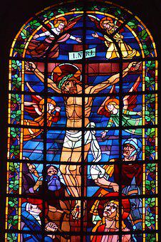 Stained Glass, Window, Church, Cross, Death, Jesus