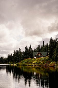 House, Lake, Canada, Landscape, Water, Nature, Trees
