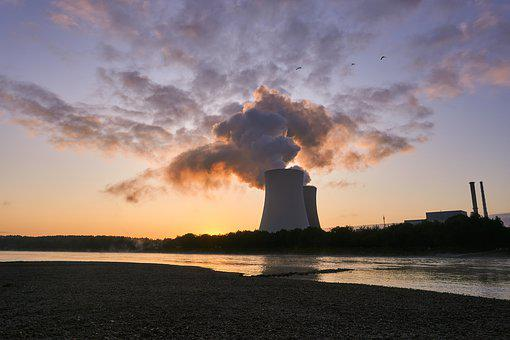 Nuclear Power Plant, Cooling Tower, Sunrise, Birds