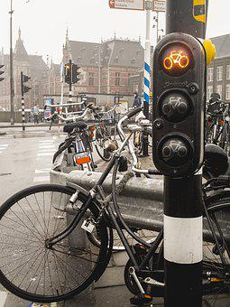 Bicycle, Traffic Light, Red, Traffic, Sign, Green