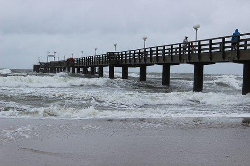 Sea, Sea Bridge, Forward, Beach, Wave, Sand