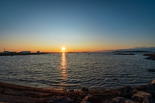 L'anse Aux Meadows, Sunset, Ocean, Sea, Sky, Evening
