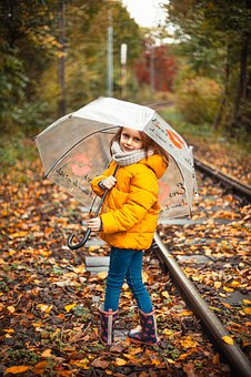 Girl, Autumn, Nature, Railway, Leaves, Season, Tree