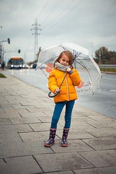 Girl, Autumn, Baby, Season, Childhood, City, Rain