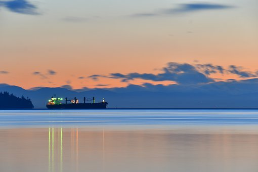 Ships Silhouette, Docked Ship, Bay, Maritime, Landscape