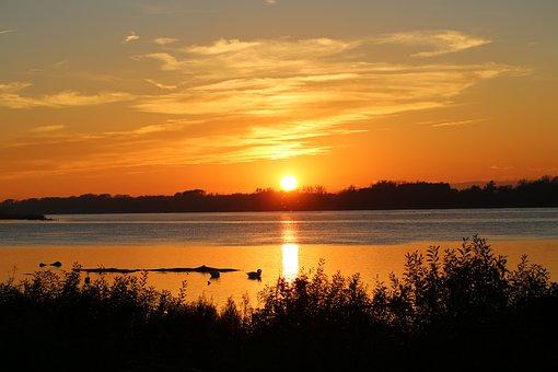 Sunset, Night Crane, Sky, Dusk, Twilight, Abendstimmung