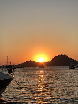 Sunset, Solar, Night Sea, Sky, In The Evening, Beach