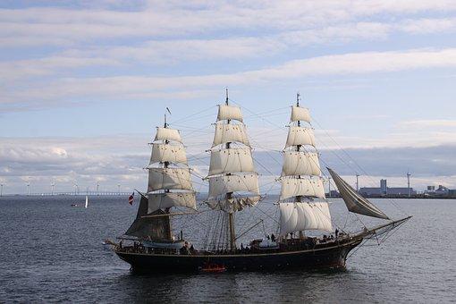 Tremaster, Sailing Ship, Training Ship, Denmark, Water