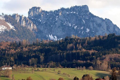 Alpine Foothills, Mountain Farm, Landscape, Alpine