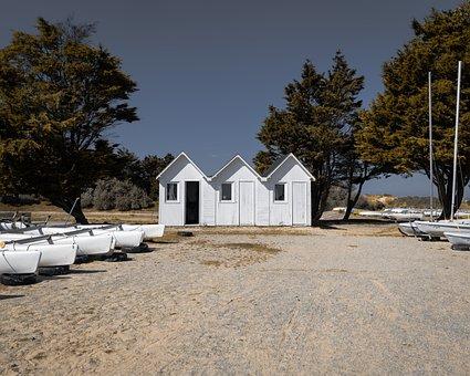 Hut, Beach, Sail, Sea, Landscape, Water, Nature