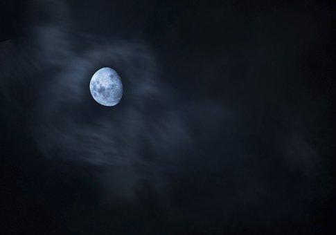Moon, Celestial, Moonlight, Lit, Night Sky, Spooky
