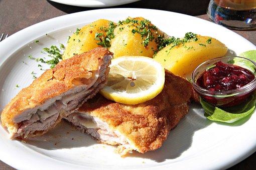 Cordon, Cordon Bleu, Schnitzel, Meat, Lemon, Potato