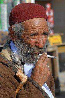 Tunisia, Man, Old, Portrait, Face, Expression, Smoking