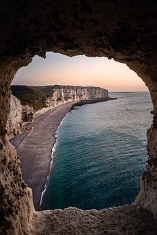 Etretat, Beach, Sunrise, Normandy, France, Sea