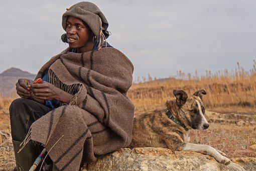 Lesotho, Shepherd Boy, Portrait, Face, Herding Dog