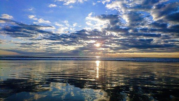 Ocean, Sunrise, Sunset, Horizon, Nature