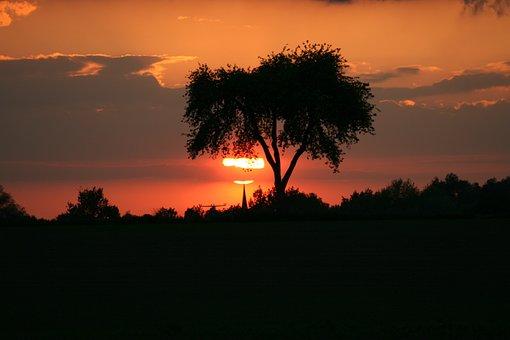 Evening, Sunset, Sun, Sky, Nature, Landscape, Dusk