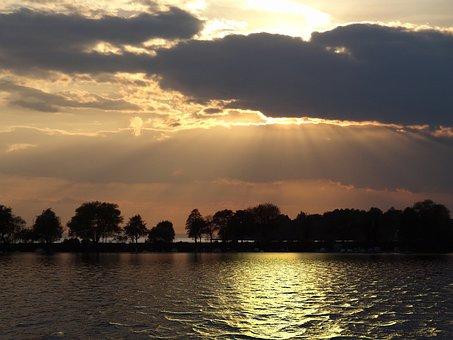 Lake, Sunrise, Dawn, Water, Landscape, Sky, Reflection