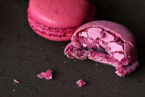 Pink, Bite, Bitten, Macaron, Macaroon, Cookie, Biscuit