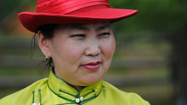 Mongolia, Woman, Portrait, Face, Hat, Red, Tradition