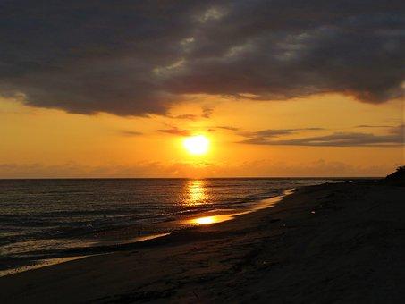 Sunset, Ocean, Water, Waves, Sun, Scenery, Reflection