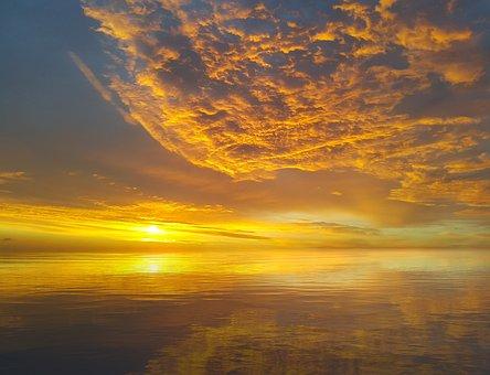 Sunset, Sky, Reflection, Landscape, Clouds, Evening