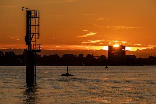 Elbe, Sunset, Hamburg, River, Water, Elbe Beach, Sky