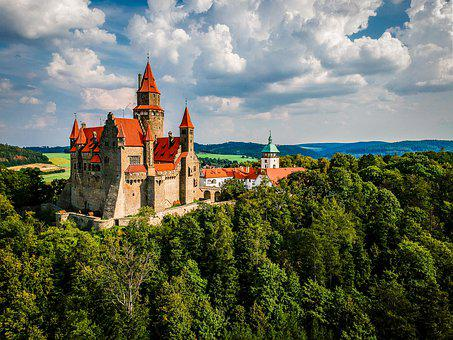 Bouzov, Summer, Aerial, Travel, Medieval, Castle, Czech