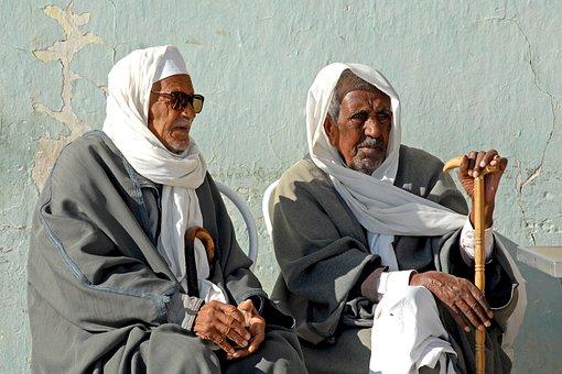 Tunisia, Bedouin, Men, Friendship, Age, Rest, View