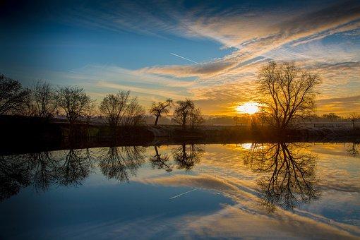Morning, Twilight, Sunrise, Sky, Trees, Morgenstimmung