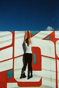 Girl, Woman, Hanging, Wall, Graffiti