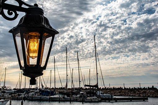 Light, Lamp, Marina, Yachts, Water, Relaxation, Sea