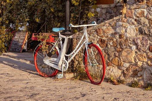 Bicycle, White, Red, Decoration, Wall, Wheel, City