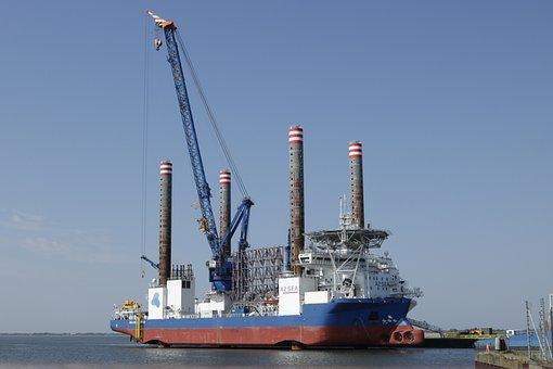 Ship, Port, Esbjerg, Crane, Wind Turbine, Shipping
