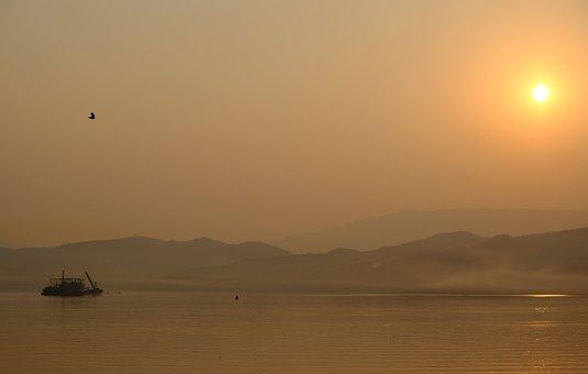 China, Yangtze, Sunrise, River, Boat, Landscape