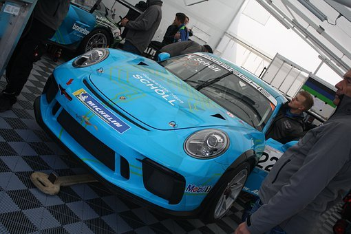 Racecar, Porsche, Blue, Stuttgart, Car, Vehicle, Auto