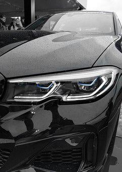 Bmw, Headlights, Car, Black And White, Blue, Vehicle